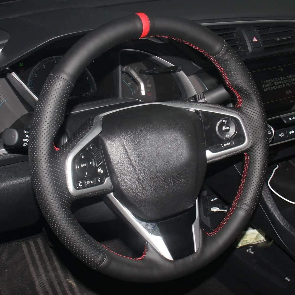 Eiseng DIY Sew Steering Wheel Cover for 2016 2017 2018 2019 2020 Honda Civic//for 2017-/////2020 CR-V CRV SUV Clarity Black Microfiber Leather Interior Accessories Red Thread+Red Mark