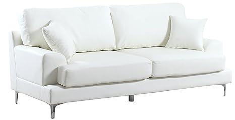 Ultra Modern Plush Bonded Leather Living Room Sofa with Chrome Leg detail (White)