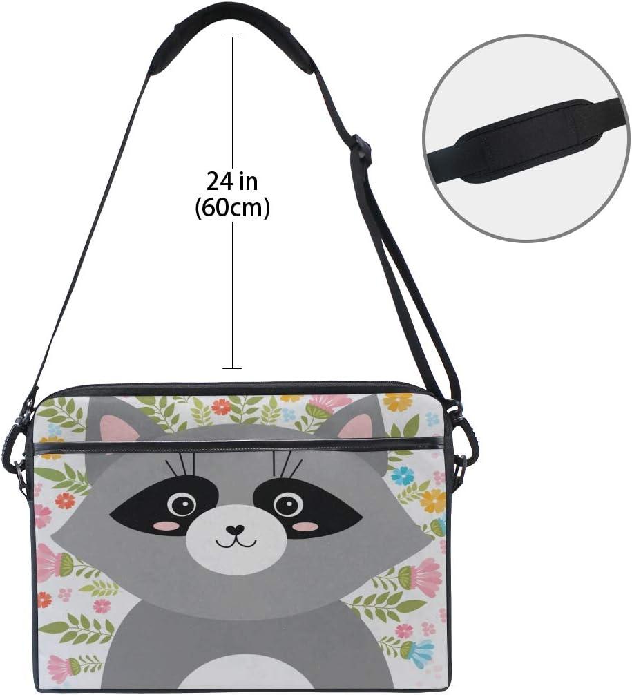 Briefcase Messenger Shoulder Bag for Men Women College Students Business People O Laptop Bag Cartoon Sketch Raccoon Spring 15-15.4 Inch Laptop Case