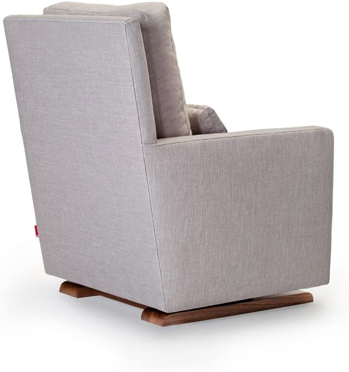 Monte Design Upholstered Modern Nursery Como Glider Chair and Ottoman Pebble Grey