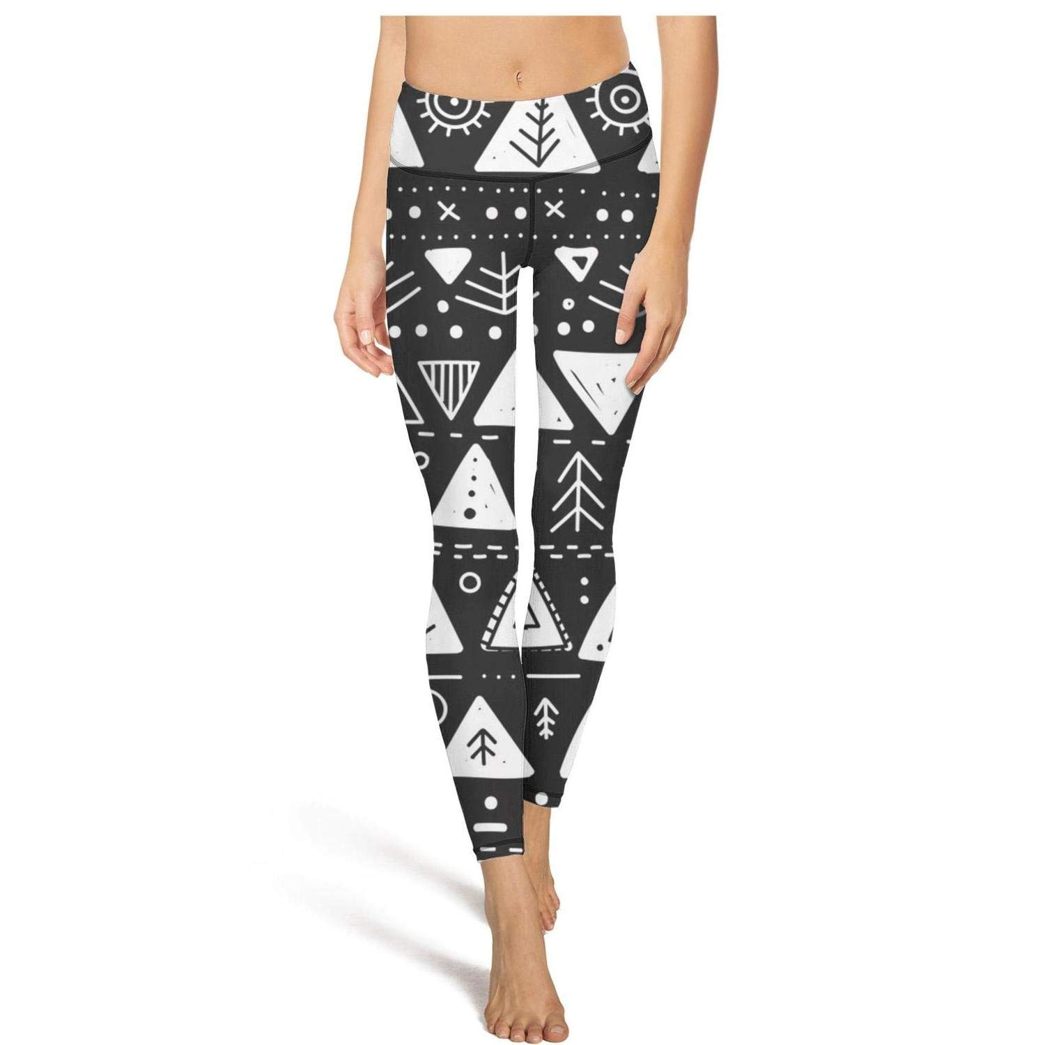 AugGThomas Womens Black and White Bohemian Style Workout Running Leggings Tummy Control Essential Yoga Pants with Pockets