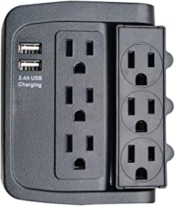 ECOPlugs 6 Outlet Swivel Wall Adapter, Swivel Outlet with USB Ports, Swivel Wall Tap Adapter Black