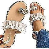 Sandals for Women Thong,Women's Bohemia Bling Rhinestone Pearl Flat Sandals Flat Gladiator Sandals Open Toe Dress Shoes
