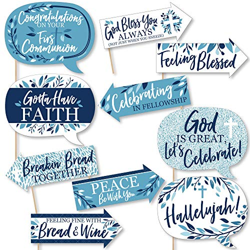 Funny First Communion Blue Elegant Cross - Boy Religious Party Photo Booth Props Kit - 10 Piece Boy First Communion Cut Out