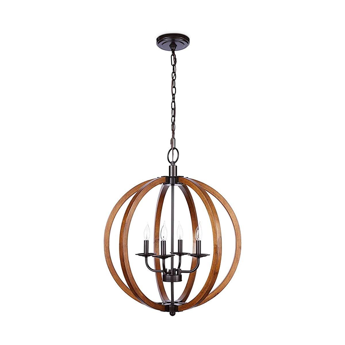 Rustic Orb Chandelier Showcases Distressed Wood In Oil-Rubbed Bronze Finish. Hanging Round Ceiling Pendant Lamp Provides Ample Lighting. Candle Style Globe Light Fixture Creates Modern Farmhouse Feel.