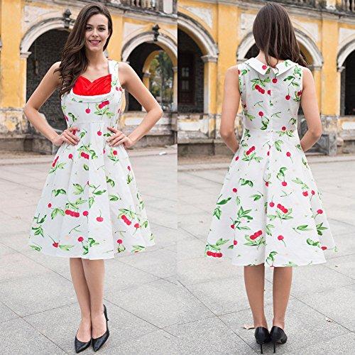 Para JIALELE Vestidos Impreso Fiesta Mujer Una Vestido Con De Un Vestido Mujer Blanco Larga Falda Fiesta YwAXYqr