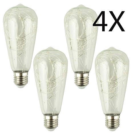 YWXR Edison Bombilla Lámpara de Alambre de Cobre 4 Piezas ...