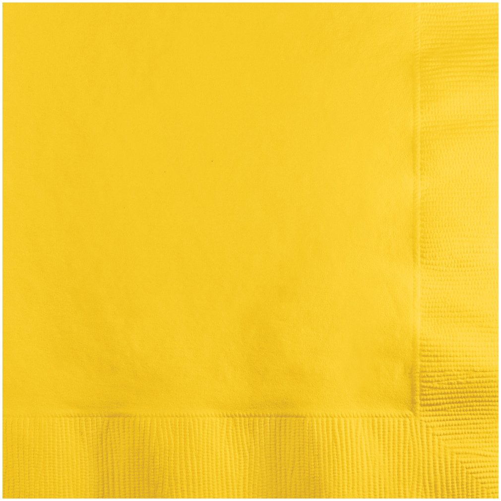 Creative Converting 20 Count Beverage Napkins, School Bus Yellow