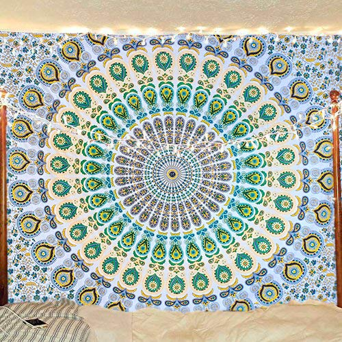 Bless International Indian Hippie Bohemian Psychedelic Peacock Mandala Wall Hanging Bedding Tapestry (Yellow Green…