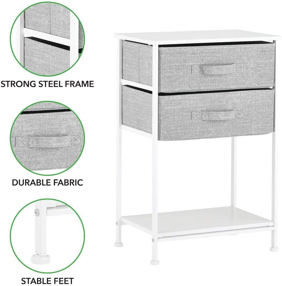 Easy Pull Fabric Bins mDesign Night Stand//End Table Storage Tower Gray Wood Top Closets Entryway Sturdy Steel Frame Hallway Organizer Unit for Bedroom Textured Print Shelf 2 Drawers