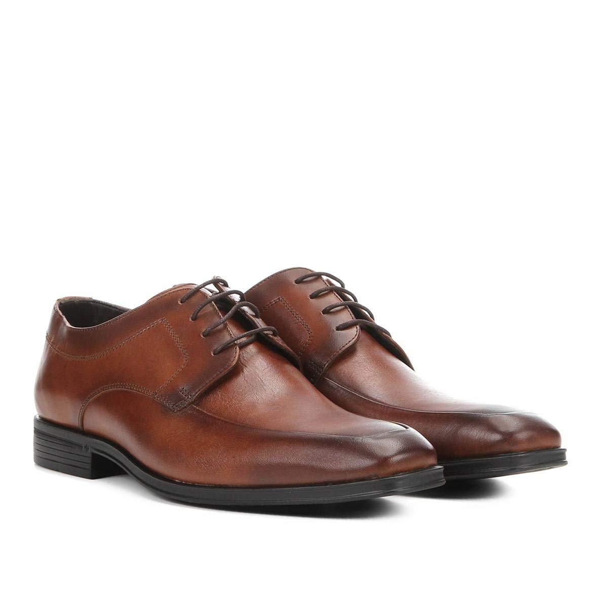 4f914bb3fd Sapato Social Couro Shoestock Cadarço Masculino - Marrom - 39   Amazon.com.br  Amazon Moda