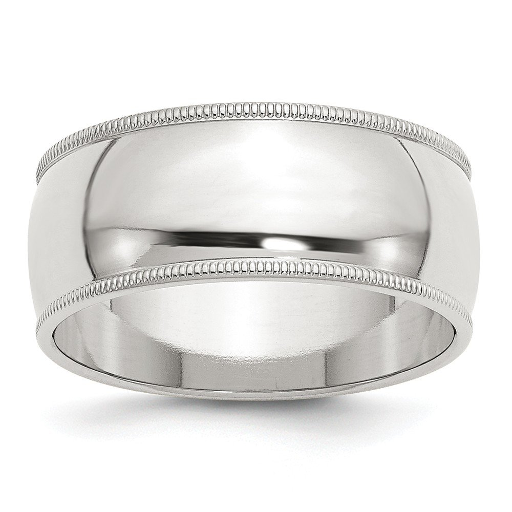 Sterling Silver 9mm Half Round Milgrain Band Size 9 Length Width 9