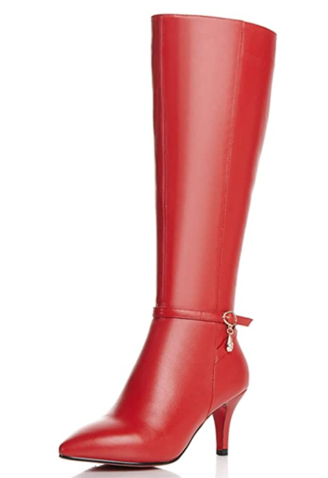 Nine Seven Genuine Leather Women's Pointed Toe Stiletto Heel Buckle Zip Knee High Handmade Boot (9.5, red) best women's knee-high boots