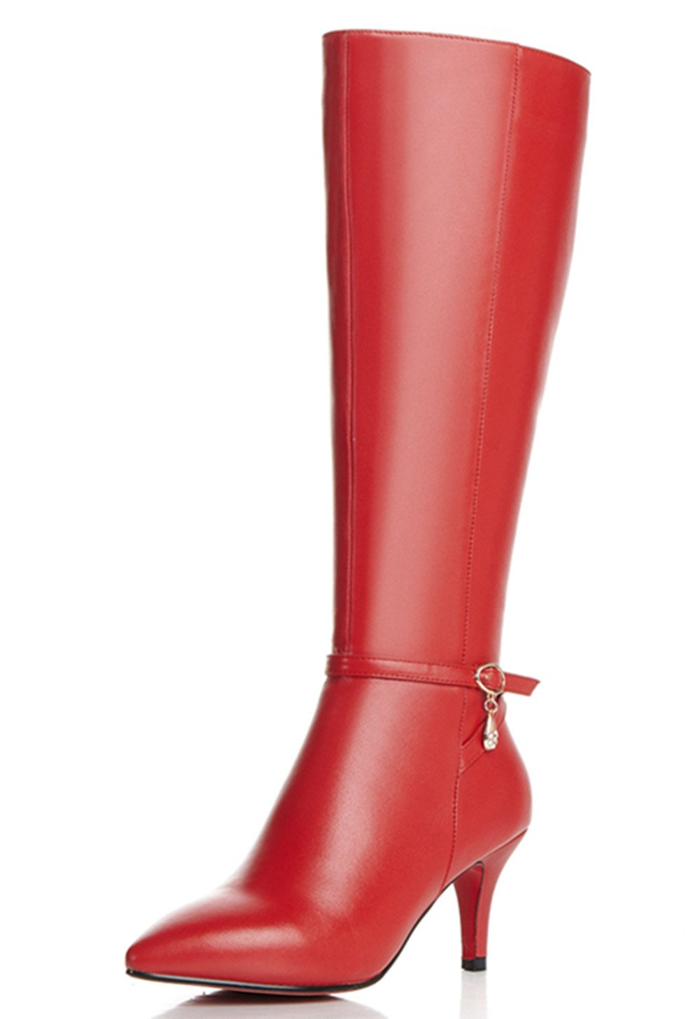 Nine Seven Genuine Leather Women's Pointed Toe Stiletto Heel Buckle Zip Knee High Handmade Boot (8, red)