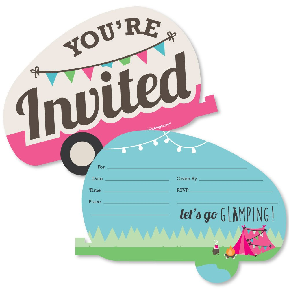 Let's Go Glamping Shaped Fill in Invitations Camp Glamp Party or Birthday Party Invitation Cards with Envelopes Set of 12