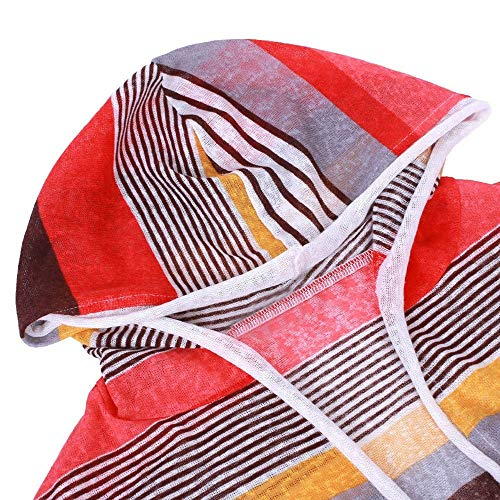 Stripe Beautiful Color Tunic Coat Jersh Outerwear Hooded Red Matching Regularly Women Long A Women Jacket Sleeved Temperament Cardigan RwXxBpqHA