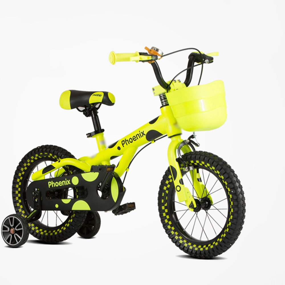 HAIZHEN マウンテンバイク 子供用自転車 グリーンイエローオレンジ サイズ12インチ、14インチ、16インチ アウトドアアウト 新生児 B07C6RFCFL 14 inch|イエロー いえろ゜ イエロー いえろ゜ 14 inch