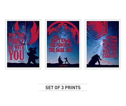 Amazon Lab No 4 Set Of Three Famous Star Wars Movie Quotes
