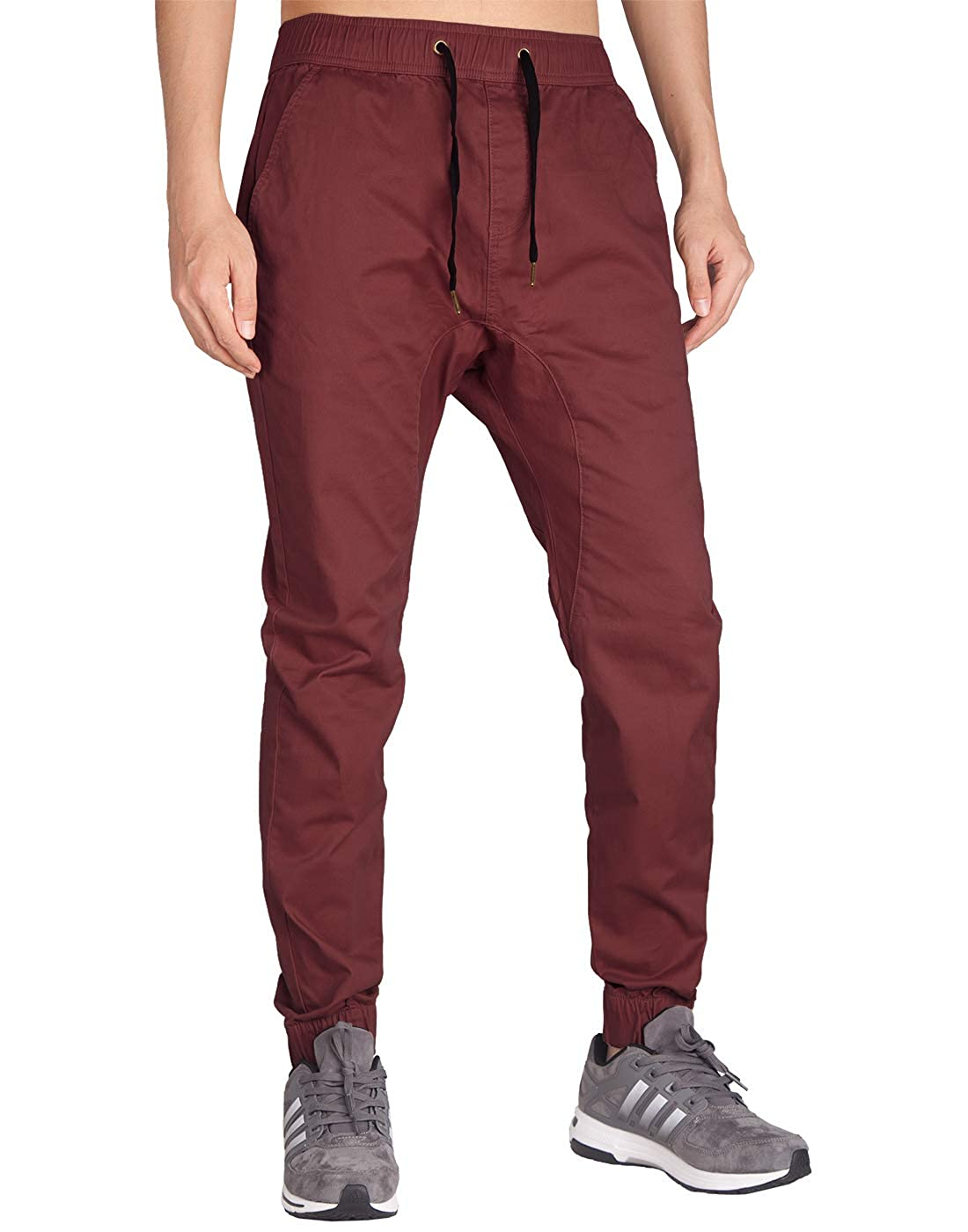 0a96c1cf ITALY MORN Men's Chino Jogger Casual Pants Khakis Jogging Slim Fit Elastic  Waistband
