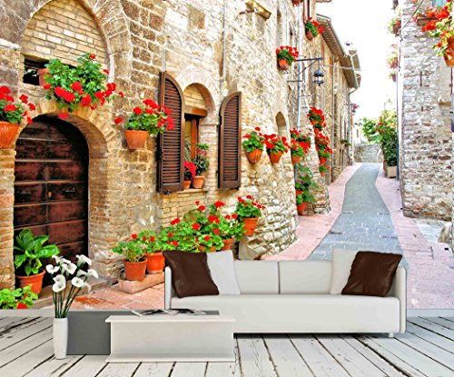wall26 - Picturesque Lane with Flowers in an Italian Hill Town - Removable Wall Mural | Self-adhesive Large Wallpaper - 66x96 (Tuscan Window Mural)