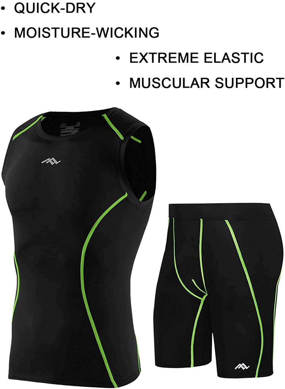 sunseen Mens Compression Suit Cool Dry Fit Running Tights Sports Leggings Baselayer Pants Gym Workout Exercise Shirts Shorts