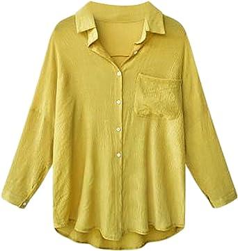 Yayu Mens Cotton Linen Long-Sleeve Button Down Shirts