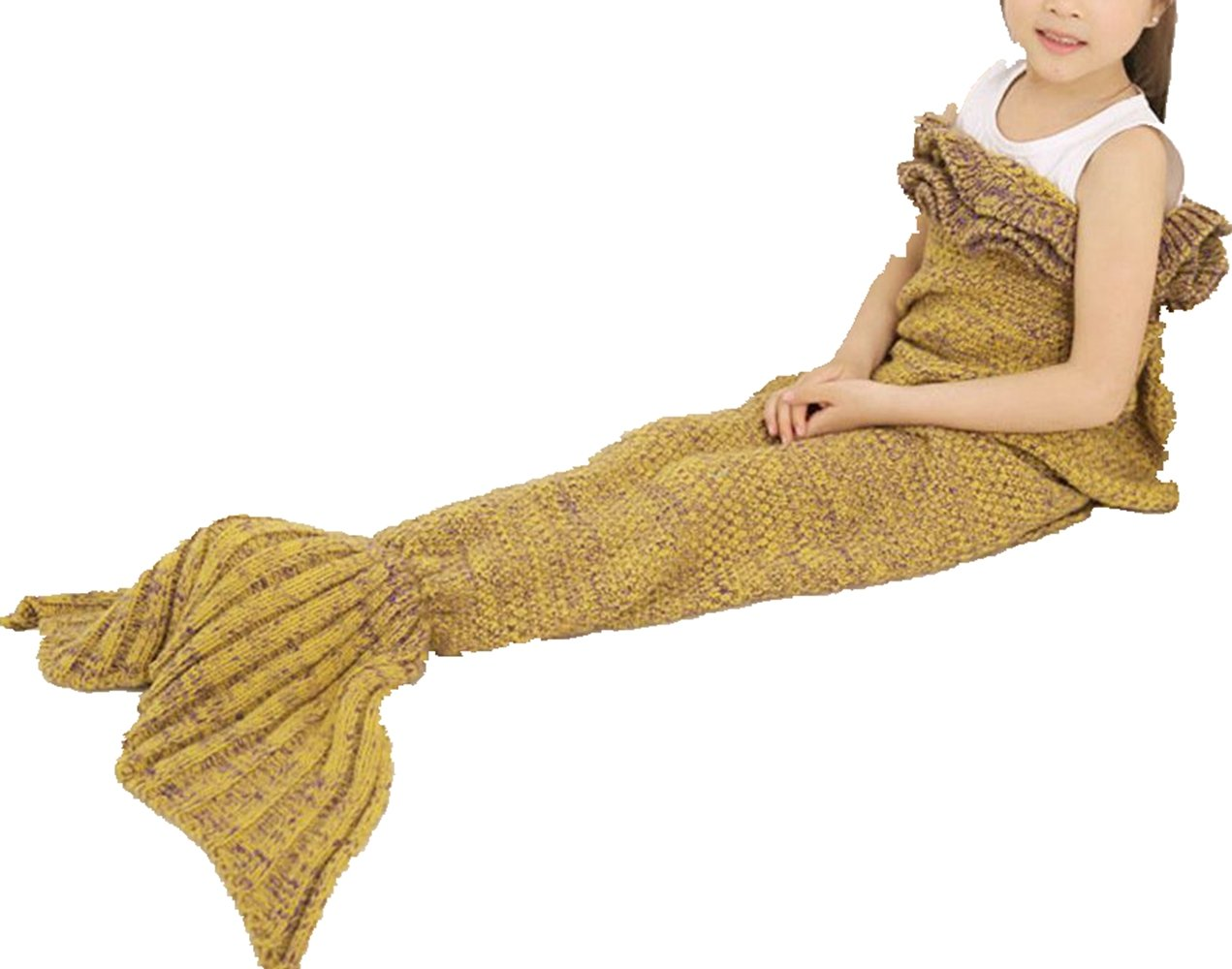 Igeon Soft Hand Crocheted Mermaid Tail Blanket Cocoon Sofa Rug Wrap Quilt for Kids Girls Boys (Yellow) by Igeon