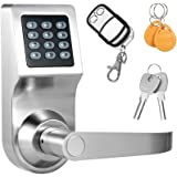 Decdeal 4-in-1 Electronic Keypad Coded Lock Unlocked by Password / RF Card / Remote Control / Key (Silver)
