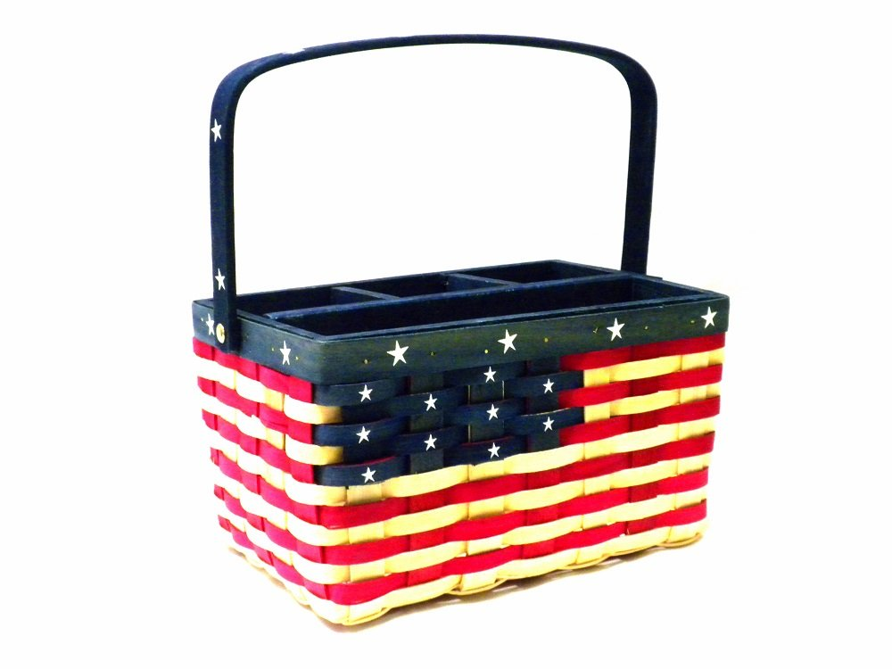 Patriotic Wooden Utensil Picnic Caddy