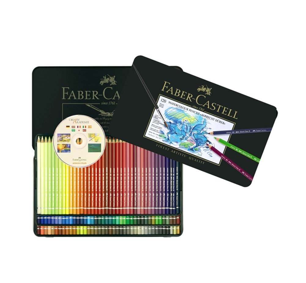 Faber Castell Albrecht Dürer Watercolor Color Colored Artists Pencils Metal Tin Set of 120 with Cd by A.W. FABER-CASTELL