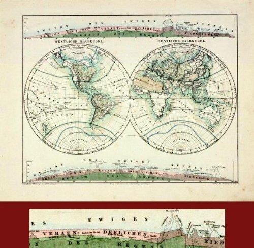 (ANTIQUE MAP- DOUBLE HEMISPHERE- WINCKELMANN-1845)