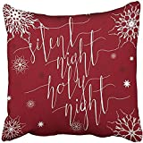 Throw Pillow Cover Polyester 18X18 Inch Silent Night Holy Christmas Carol Inspirational Quote Elegant Ink Hand Lettering Red Two Sides Decorative Square Print Pillowcase For Home