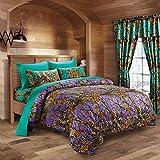 20 Lakes Purple Primitive Rustic Woodland Camo Comforter and Sheet Set (Purple/Teal, Twin)