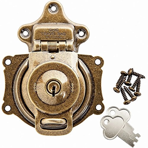Antique Cabinet Locks (Antique Brass Plated Spring Trunk Lock)