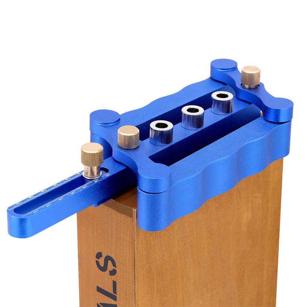 Sdoveb Woodworking Drilling Hole Locator, Self Centering Doweling Jig, Dowel Drill Pins Joinery Tool with Measure Ruler (Blue)