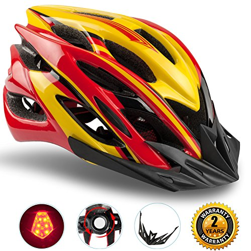 Basecamp Specialized Bike Helmet with Safety Light,Adjustable Sport Cycling Helmet Bicycle Helmets for Road & Mountain Motorcycle for Men & Women, Safety Protection(Red (Bike Helmet Safety)