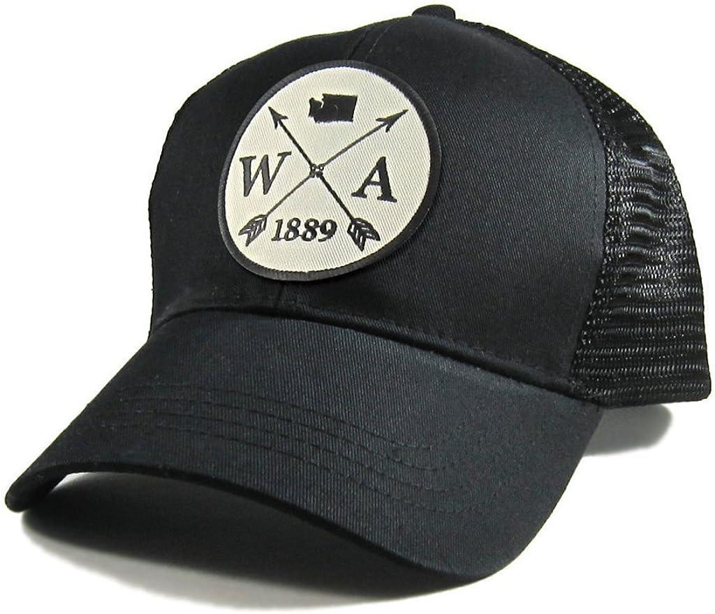 Homeland Tees Mens Washington Arrow Patch All Black Trucker Hat