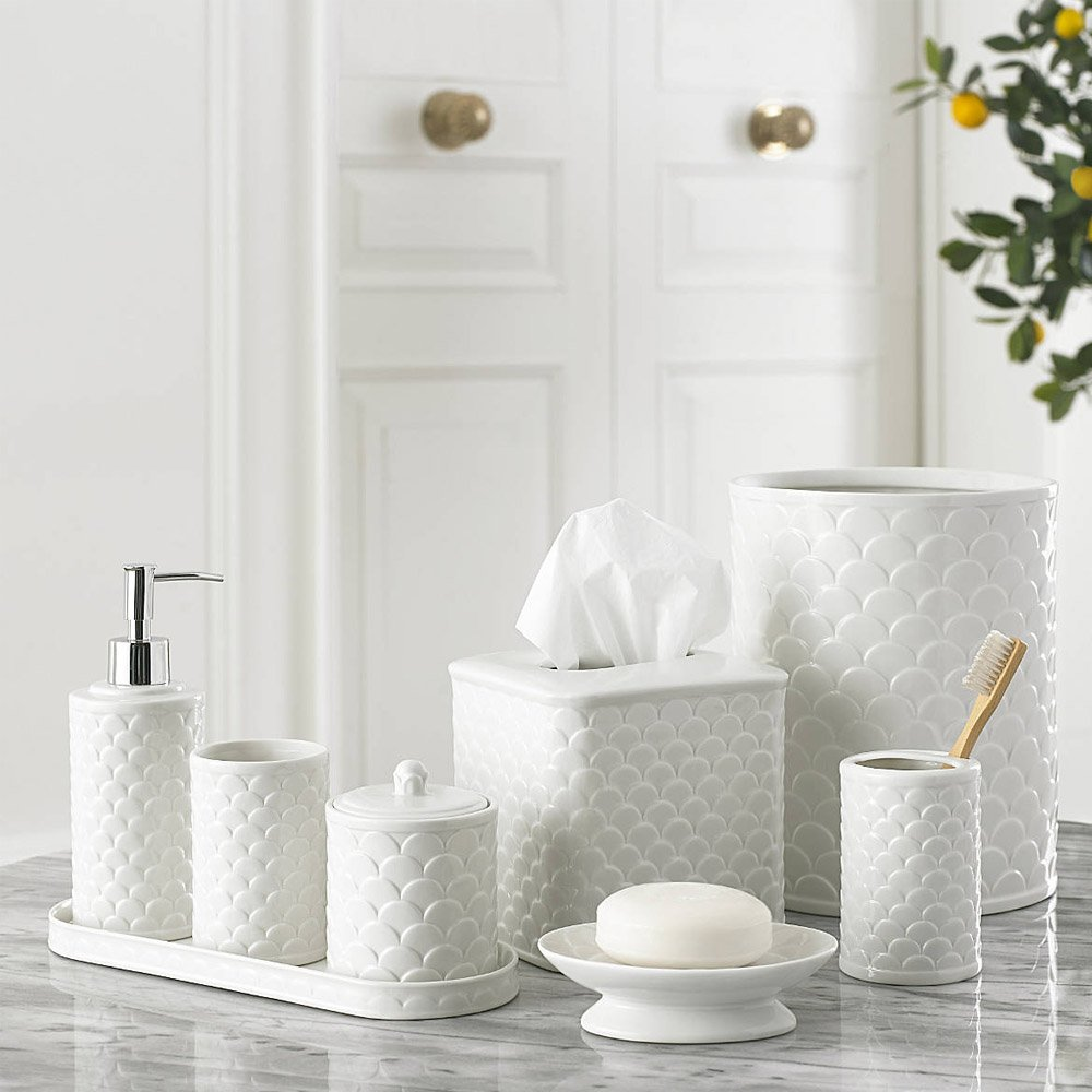 3-Piece Bath Accessory Set by Kassatex, Scala Bath Accessories | Toothbrush Holder, Tray, Tumbler - Embossed Porcelain