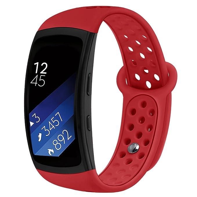 Kmasic Gear Fit2 Pro / Fit2 Bands, Correa de Repuesto de Silicona para Samsung Gear Fit 2 y 2 Pro Tracker (Rojo)