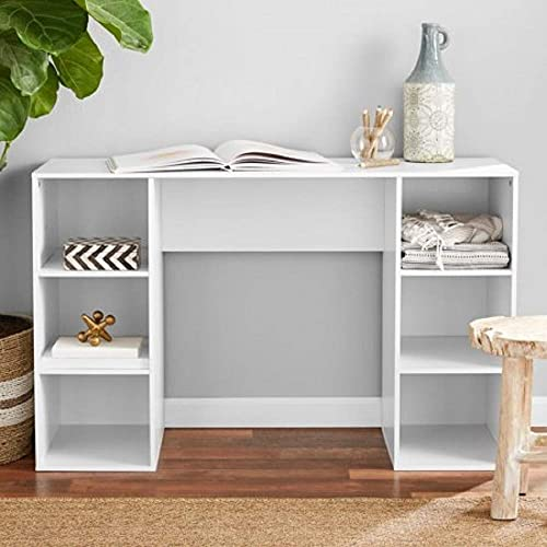 Mainstays Student Desk – Home Office Bedroom Furniture Indoor Desk – Easy Glide Accessory Drawer Desk Only, Rodeo Oak 6 Cube Computer Desk, White