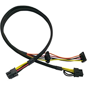 COMeap Motherboard 10 Pin to PCI-E 8 Pin(6+2) SATA IDE Molex Power Adapter Cable Compatible with HP DL380 G6 G7 Server 25-in(63.5cm)
