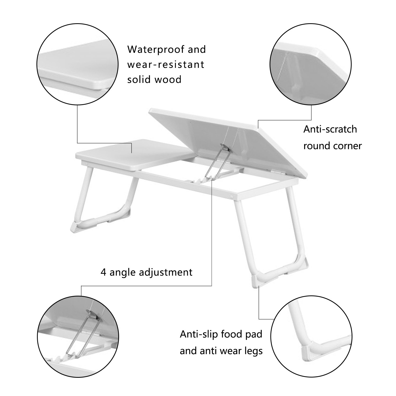 Computer Laptop Stand,Bed Tray Portable Folding Laptop Desk Table Stand Notebook Laptop desk Mike White Color
