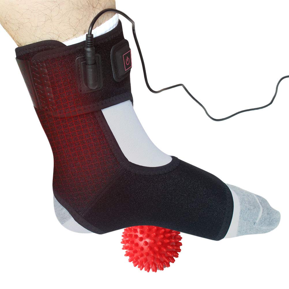 Creatrill Heated Achilles Tendonitis/Plantar Fasciitis Foot Ankle Wrap with 3 Level Controller, Pad for Moist Heat Therapy, Injuries Pain Relief for Sprains, Strains, Arthritis, Torn Tendons by CREATRILL