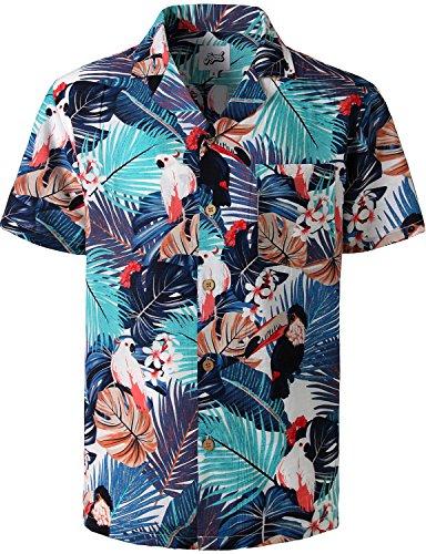 JOGAL Tropical Hawaiian Shirt Mens Flamingo Floral Hibiscus Beach Aloha Shirt Casual Large A345 ()