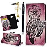 Galaxy S8 Case, Wallet Case Mysterious Cute Pattern Soft TPU Inner Bumper Wrist Strap Protective Case for Samsung Galaxy S8 with Pen & Tower Dust Plug by MOLLYCOOCLE, Feather Dream Catcher