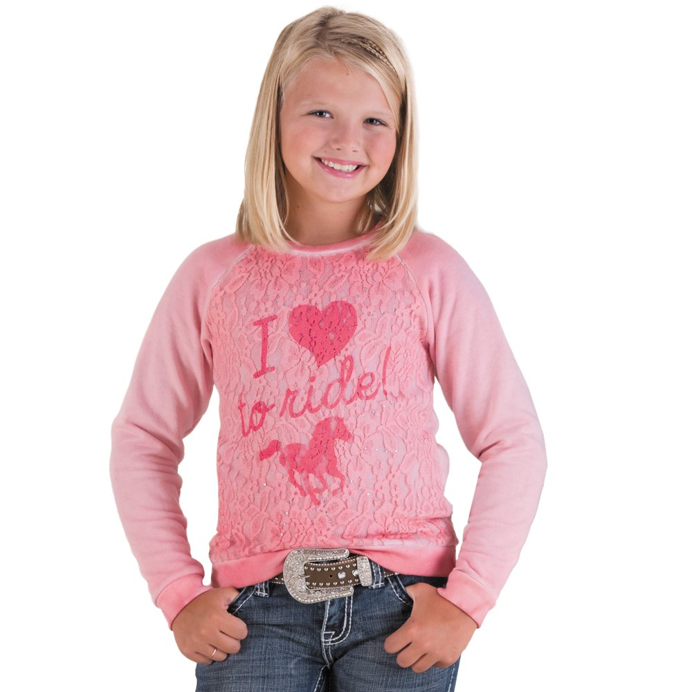 Rock & Roll Cowgirl Pink Girls Love to Ride Top