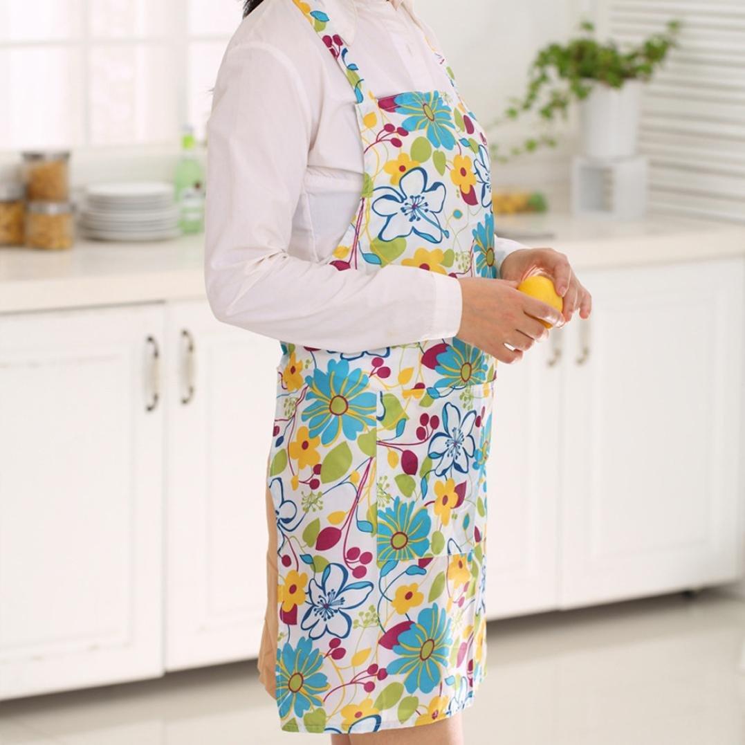 Hunpta Femme Dress Restaurant Accueil Cuisine Tablier de cuisine Bavoir Motif floral Pr/écis