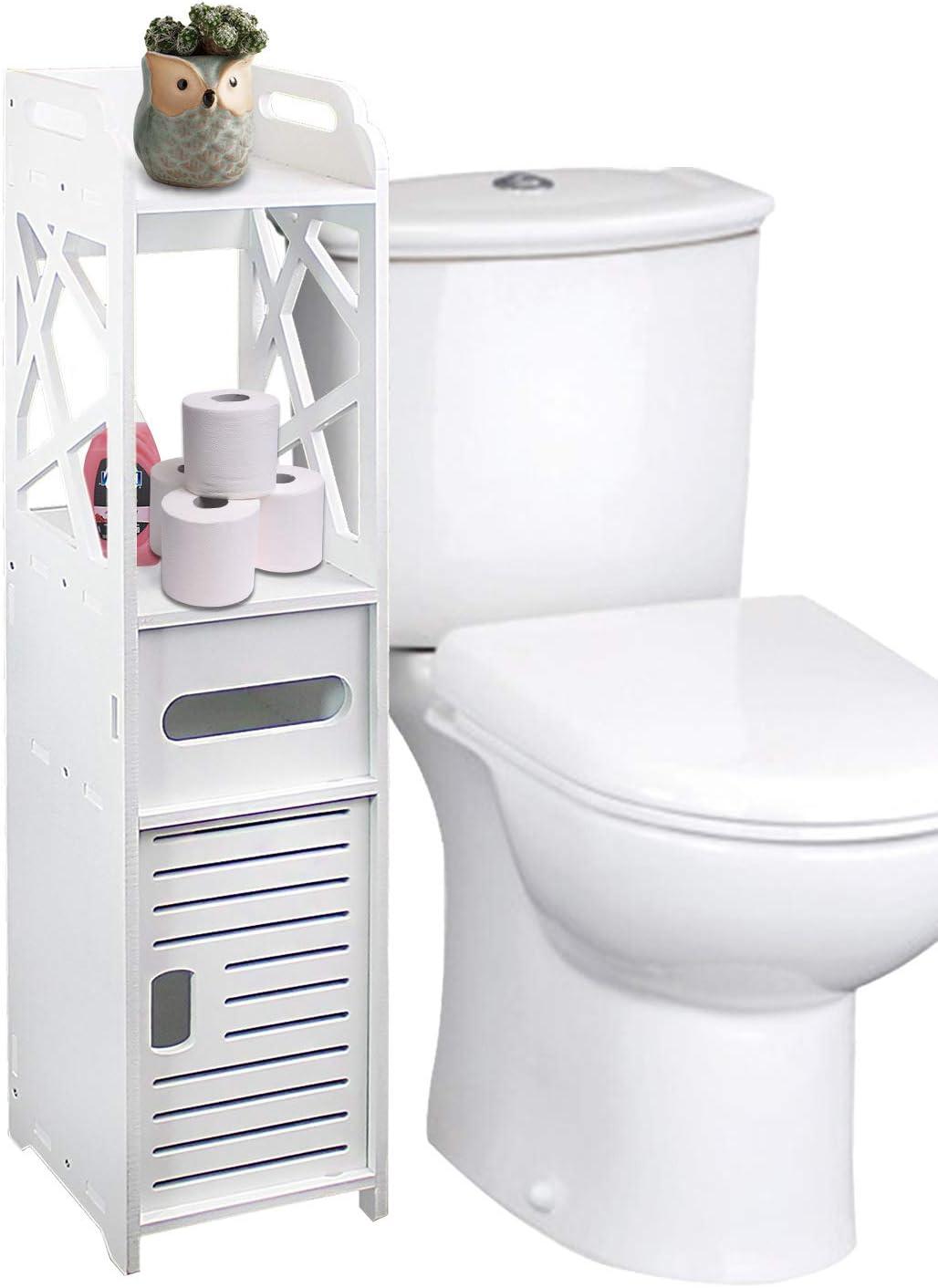 DL furniture - Bathroom Storage Shelf Drawer Multi Compartment Organizer, Water Proof, Anti Decay, Anti Rot, Environmental Friendly | White