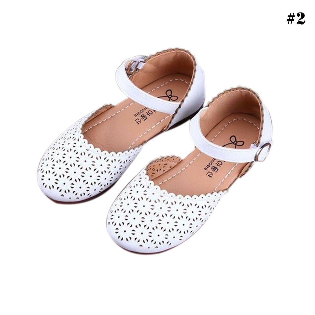 RoseSummer Kids Girls Princess Flat Heel Dance Shoes Hollow Breathable Summer Sandals (11 M US Little Kid, White)