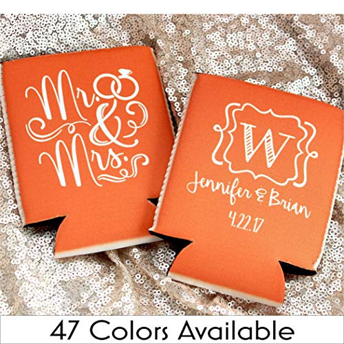 Personalized Wedding Can Coolers Mr and Mrs Initial